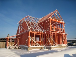 Монтаж деревянной коробки дома
