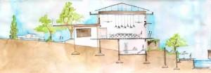 дачный каркасный дом на косогоре 1
