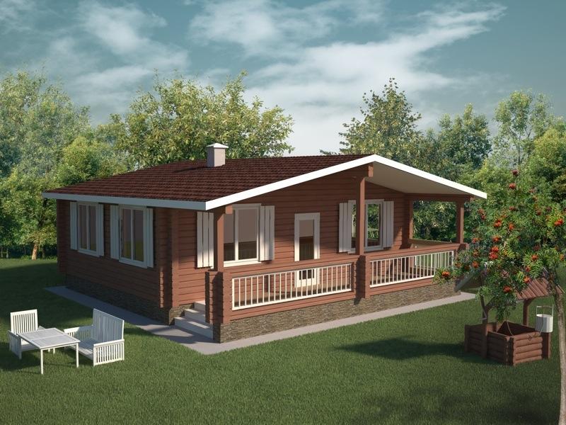 Финский дом из бруса с верандой на своем участке