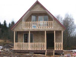Каркасный дом с балконом и террасой 1