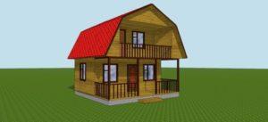 Каркасный дом с балконом и террасой 3