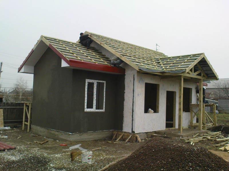 Начало этапа отштукатурование одноэтажного каркасного дома