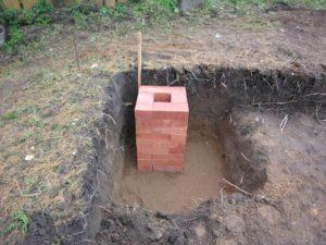 Один из вариантов столбчатого фундамента из кирпича