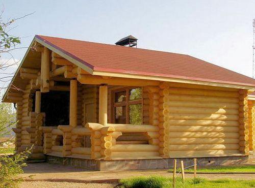 Дома с террасой из оцилиндрованного бревна
